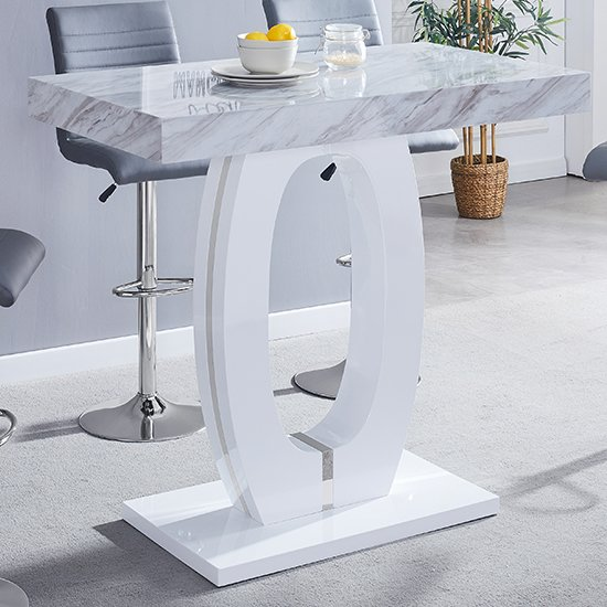 Halo High Gloss Magnesia Effect Bar Table Grey And White