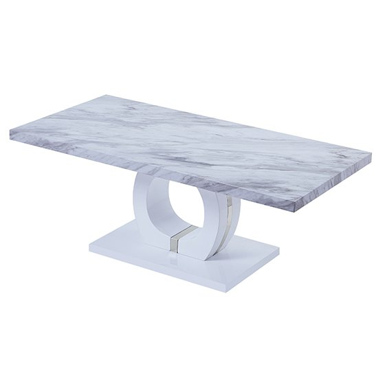 Magnesia High Gloss Marble Effect Coffee Table Grey And White