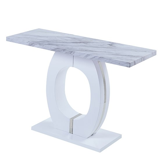 Halo High Gloss Magnesia Effect Console Table Grey And White_2