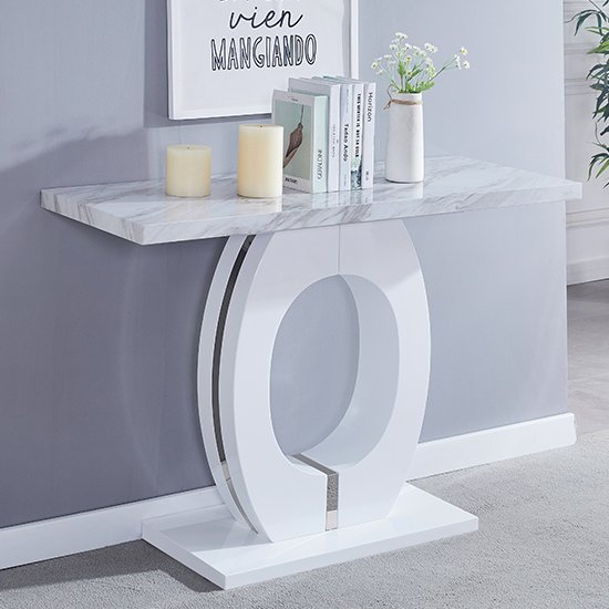 Magnesia High Gloss Marble Effect Console Table Grey And White
