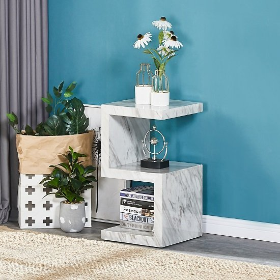 Magnesia Side Table In Grey High Gloss Marble Effect