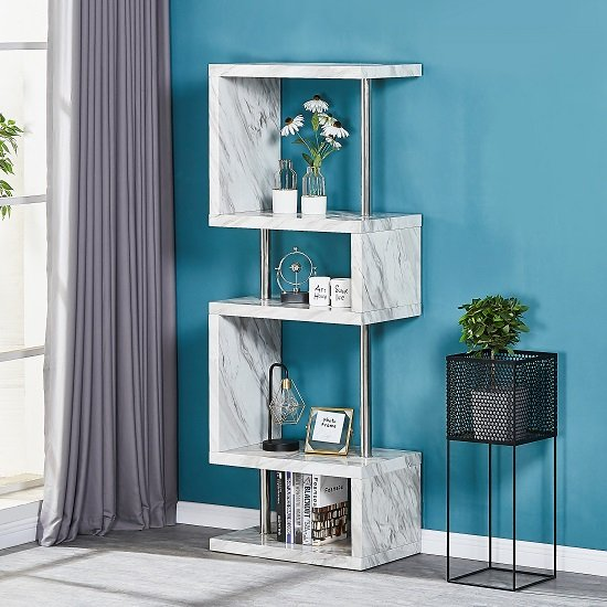 Magnesia Slim High Gloss Shelving Unit In Grey Marble Effect