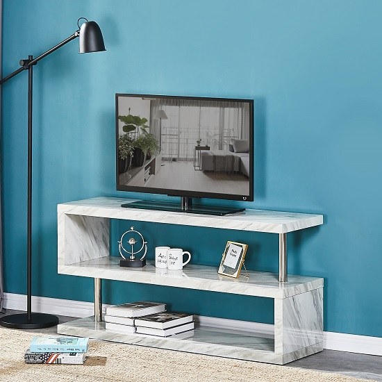 Magnesia TV Stand In Grey High Gloss Marble Effect