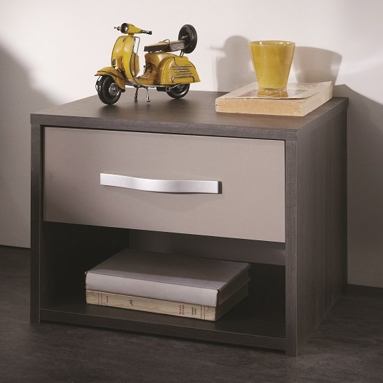 Photo of Magnum bedside cabinet in vulcano oak and basalt with 1 drawer