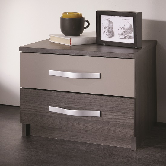 Photo of Magnum bedside cabinet in vulcano oak and basalt with 2 drawers