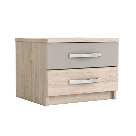 Magnum Bedside Cabinet In Arizona Oak And Clay With 2 Drawers
