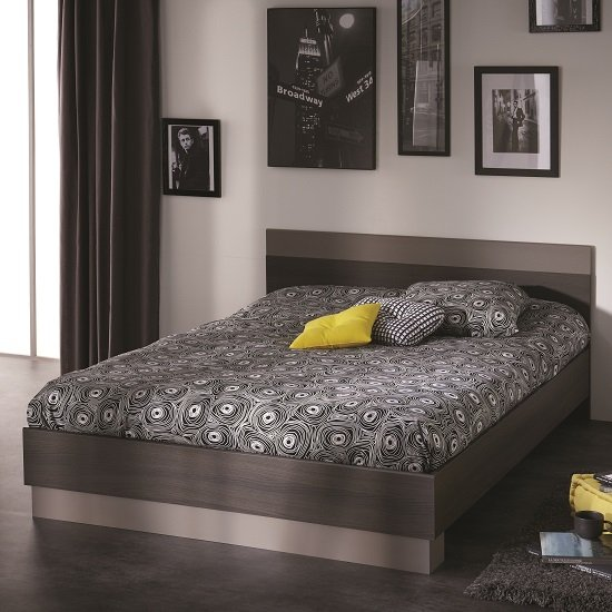 Magnum Double Bed In Vulcano Oak And Basalt