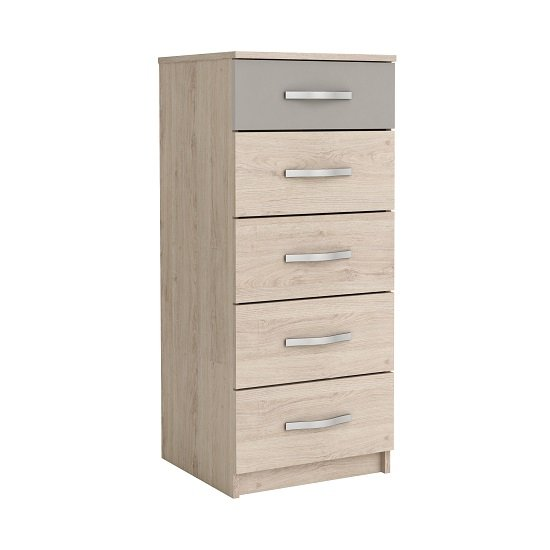 Magnum Tall Chest of Drawers In Arizona Oak And Clay