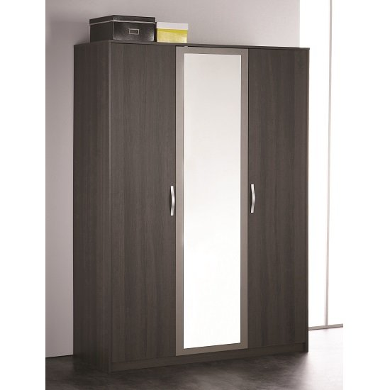 Magnum Mirror Wardrobe In Vulcano Oak With 3 Doors
