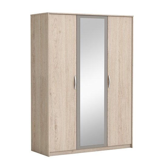 Magnum Mirror Wardrobe In Arizona Oak And Clay With 3 Doors