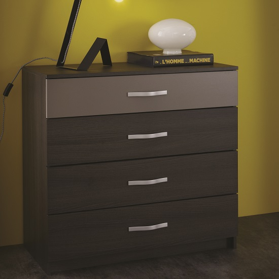 Magnum Wide Chest of Drawers In Vulcano Oak And Basalt