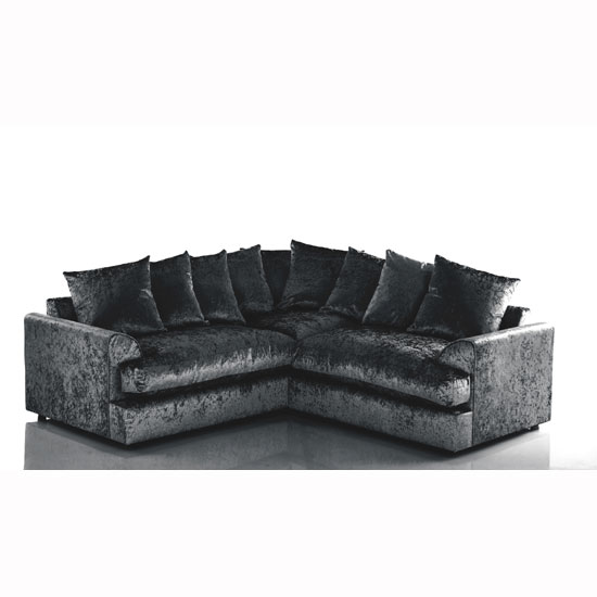 Magnus Fabric Corner Sofa In Black Velvet With Round Feet