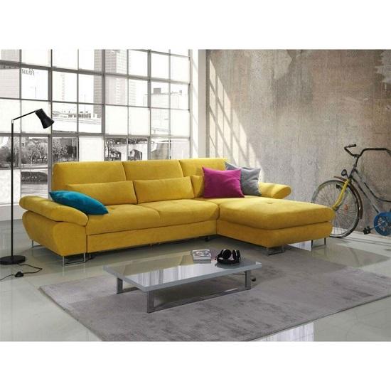 Corner Sofa Bed Contemporary: Bardo Modern Fabric Corner Sofa Bed In Yellow With Storage