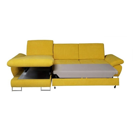 bardo modern fabric corner sofa bed in yellow with storage