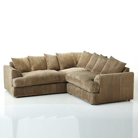 Magnus Fabric Corner Sofa In Coffee With Black Feet