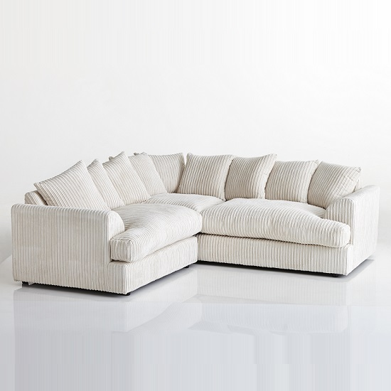 Magnus Fabric Corner Sofa In Cream With Black Feet