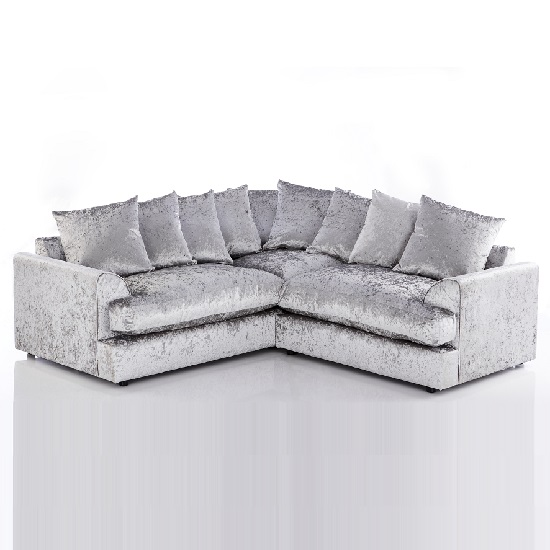 Magnus Fabric Corner Sofa In Silver Crushed Velvet