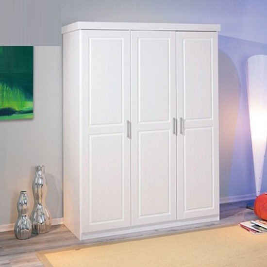 Magnus Pine Wooden Wardrobe In White With 3 Doors_1