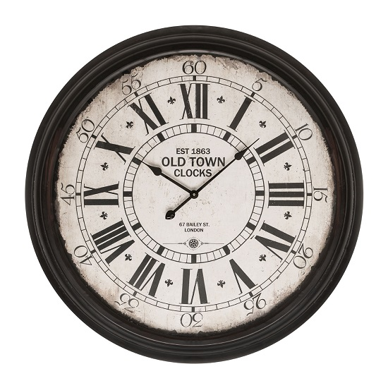 magnus round wall clock in black 27933 furniture in fashion