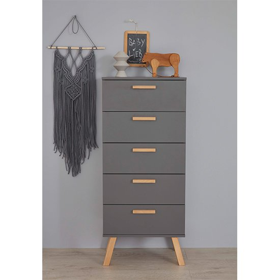 Magz Kids Room Wooden Chest Of Drawers In Grey