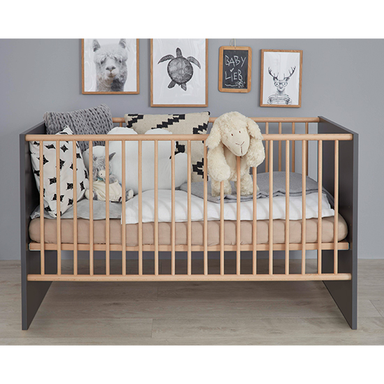Magz Wooden Baby Cot Bed In Grey