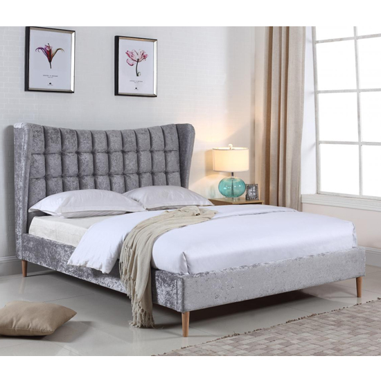 Mahala Crushed Velvet King Size Bed In Silver