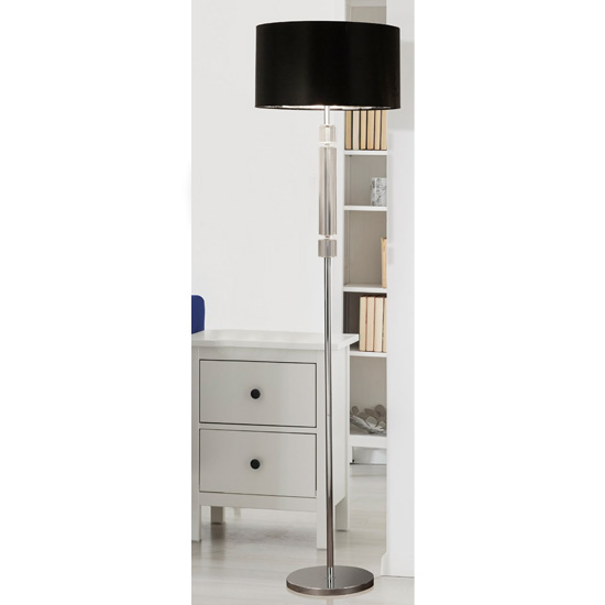 Maia Silver Inner Floor Lamp With Black Shade