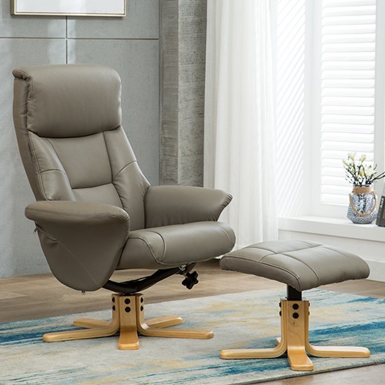 View Maida leather swivel recliner chair and footstool in grey