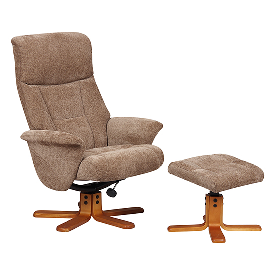 View Maida fabric swivel recliner chair and footstool in mink