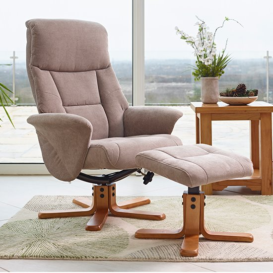 View Maida fabric swivel recliner chair and footstool in mist