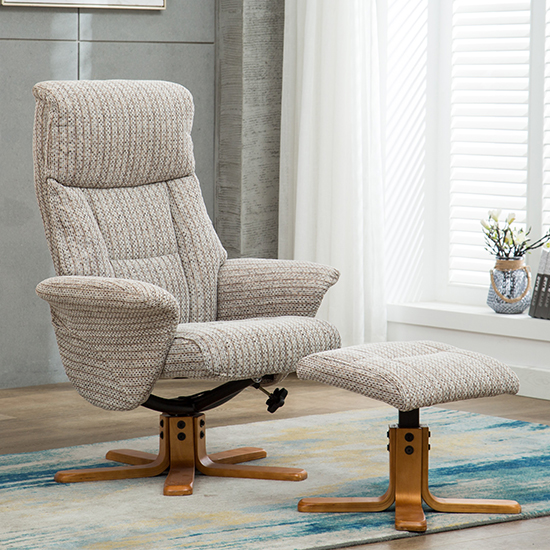 View Maida fabric swivel recliner chair and footstool in wheat