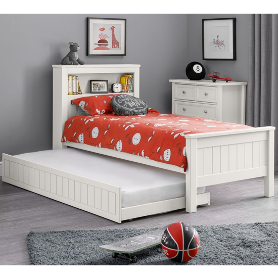 Maine Double Bed And Guest Bed In Surf White With Bookcase