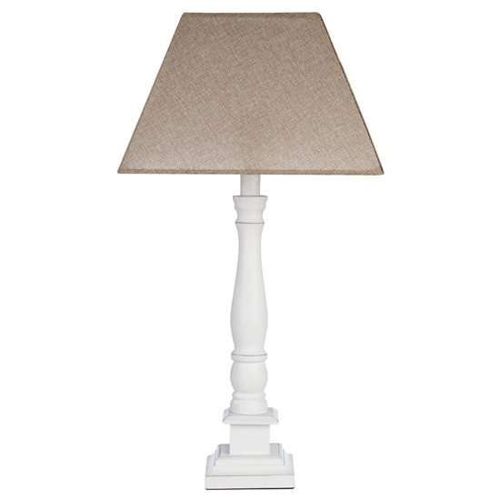 Mainot Beige Shade Table Lamp With White Candlestick Base