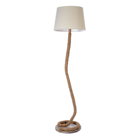 Mainot White Fabric Shade Floor Lamp With Wooden Base