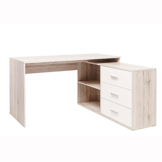 Read more about Mainz corner computer desk in sorrento oak gloss white front