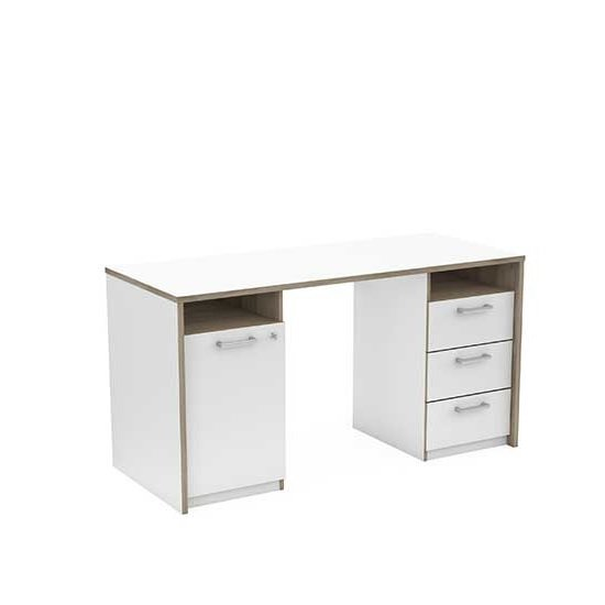 Maison Computer Desk In Matt White And Oak With 1 Door