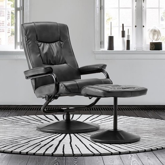 Maison Relaxing Swivel Chair And Footstool In Black Faux Leather