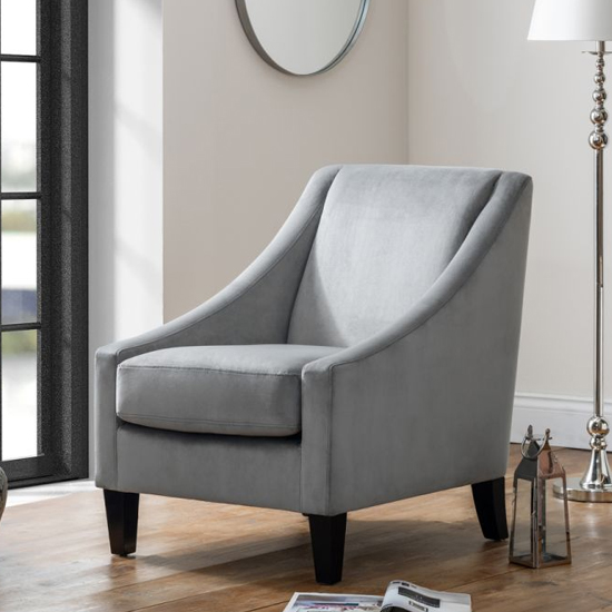 Maison Velvet Lounge Chaise Chair In Grey