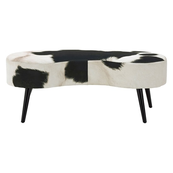 Maison Bench In Black And White Cowhide Print With Black Legs