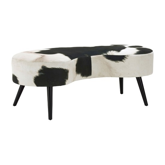 Maison Bench In Black And White Cowhide Print With Black Legs_3
