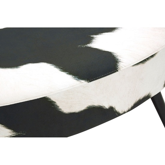 Maison Bench In Black And White Cowhide Print With Black Legs_2