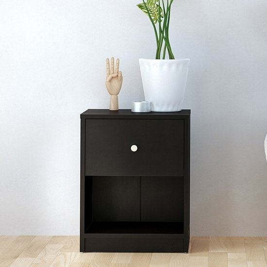 'Maiton Wooden 1 Drawer Bedside Cabinet In Black
