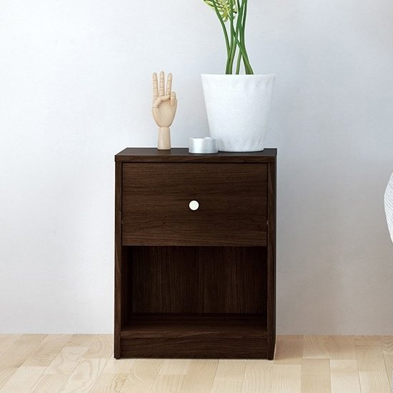 Maiton Wooden 1 Drawer Bedside Cabinet In Dark Walnut
