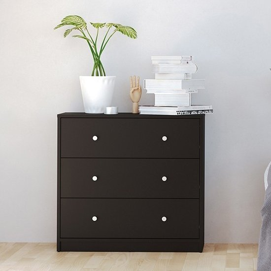 Maiton Wooden Chest Of 3 Drawers In Black