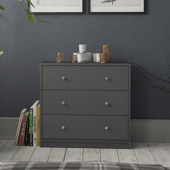 Maiton Wooden Chest Of 3 Drawers In Grey
