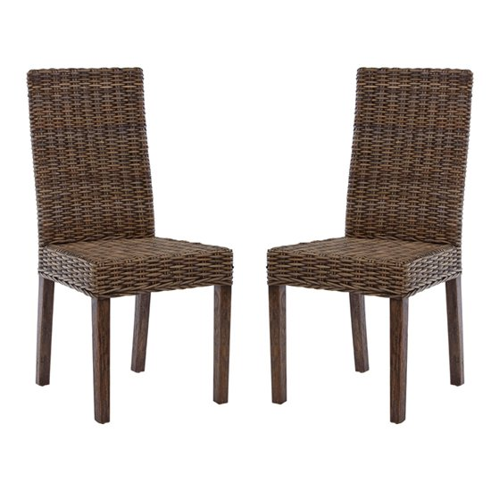 Helvetios Brown Kubu Rattan Dining Chairs In Pair