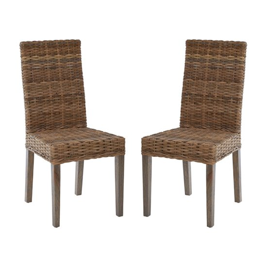 Helvetios Natural Kubu Rattan Dining Chairs In Pair