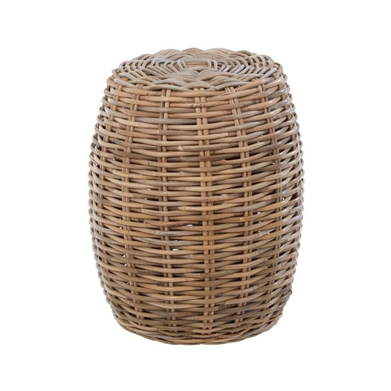 Helvetios Wooden Rattan Stool In Natural