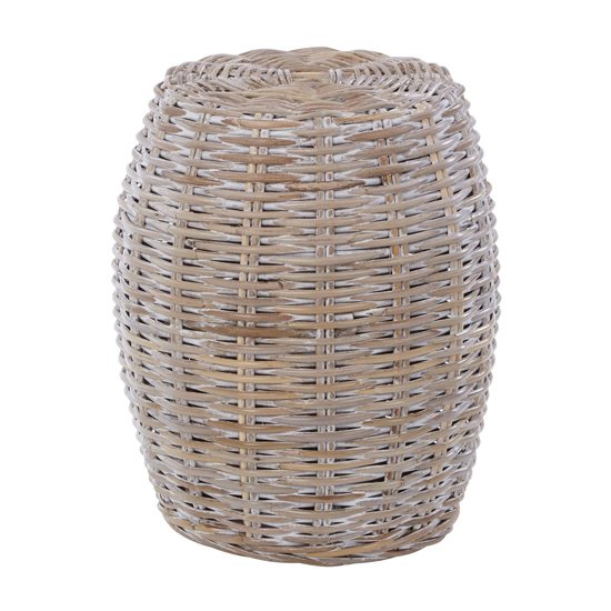Helvetios Wooden Rattan Stool In White Wash