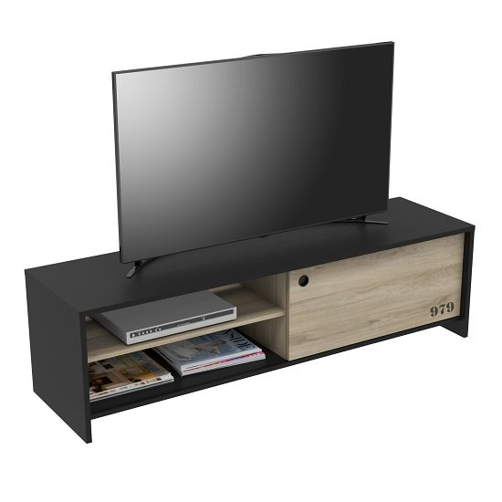 Makiver TV Stand In Kronberg Oak And Black With Sliding Door